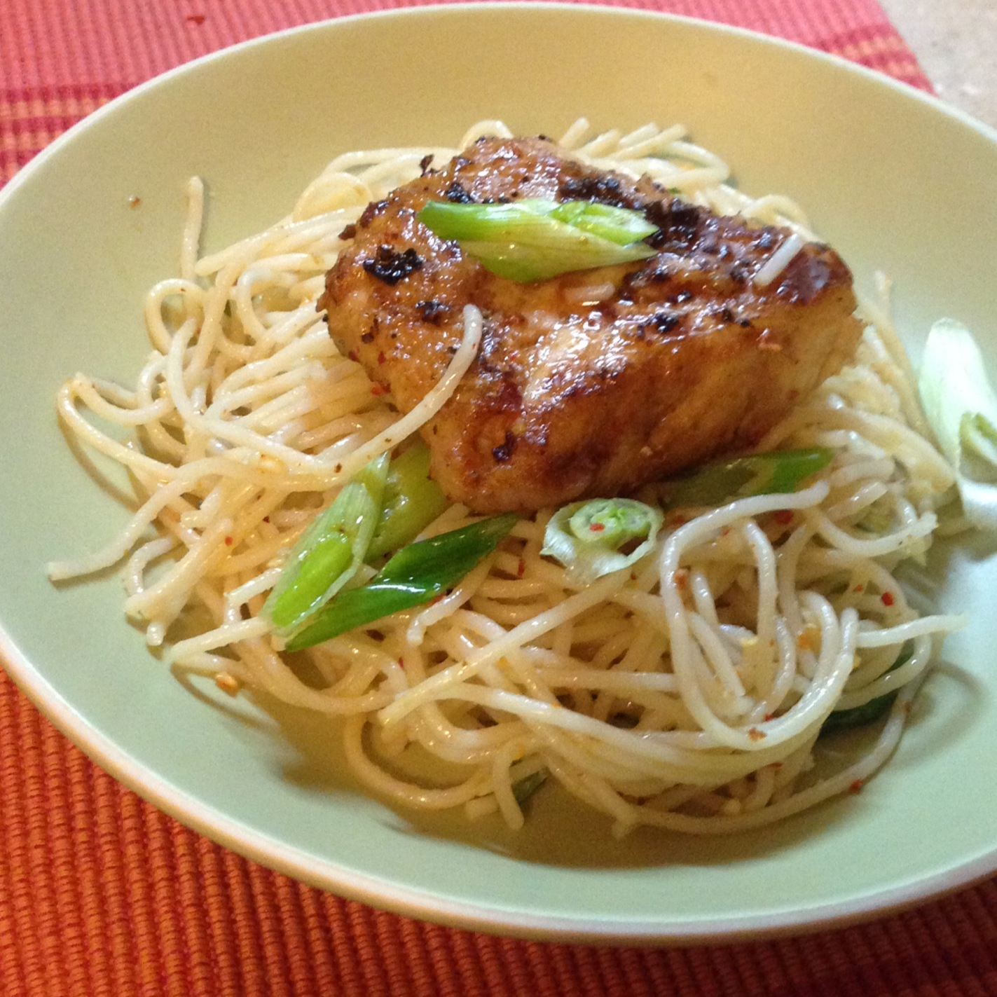 Pan fried Fish with Chili Garlic Noodles Recipe