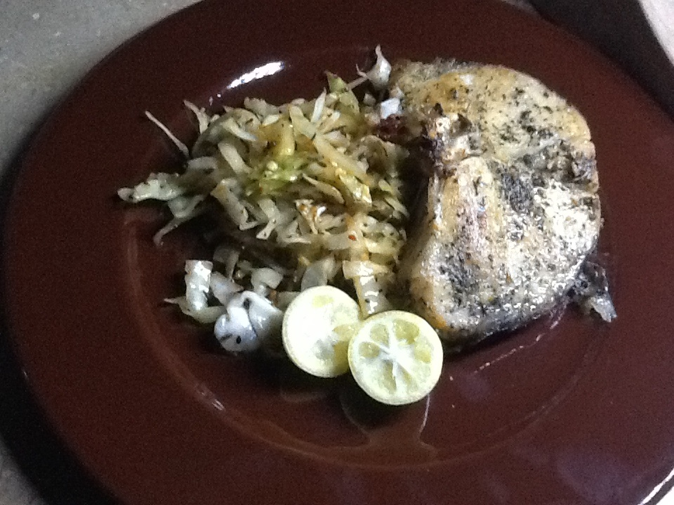 Green Masala Salmon with Stir Fry Coleslaw :