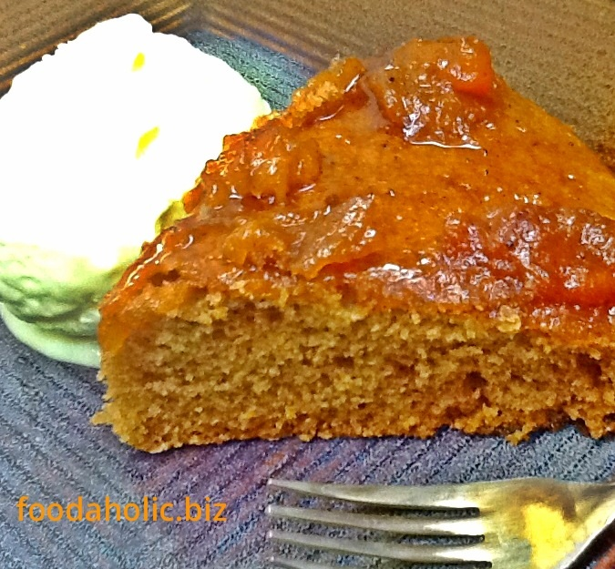 Eggless MapleSyrup Cake with Apricot Sauce