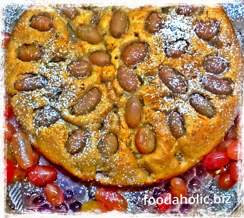 Red Grapes Olive Oil Cake, Eggless