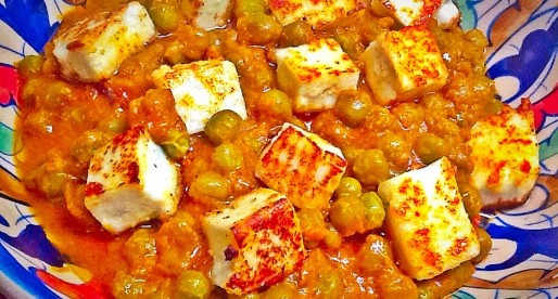 Matar Paneer Curry, Peas with Cottage Cheese