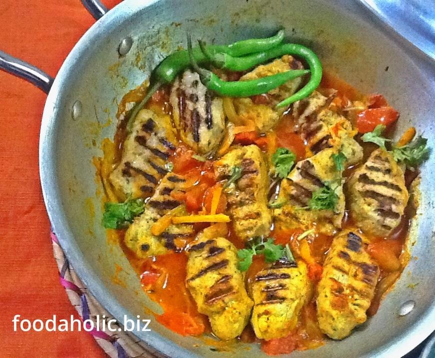 Muthi Kebab Balti Recipe, Grilled Kebabs In Tomato Masala