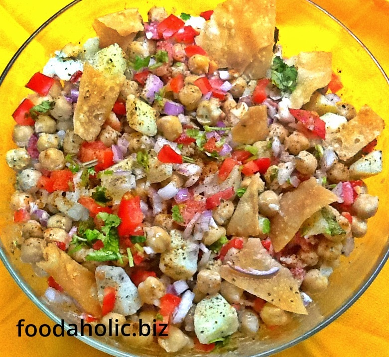 Aloo Channa Papdi Chaat, Potato Chickpea Salad with Wafers