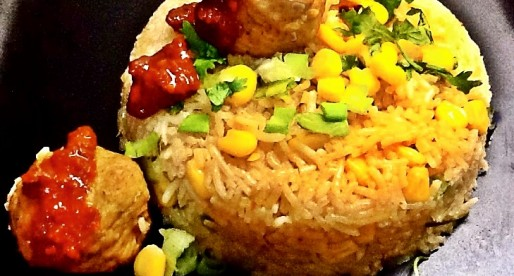 Chilli Garlic Rice with Corn and  Meatballs