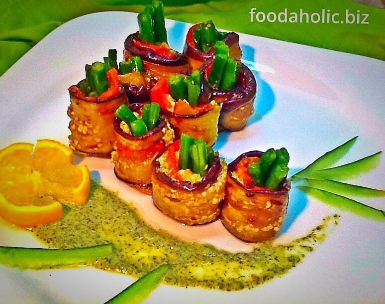 Eggplant Rollups with Vinaigrette