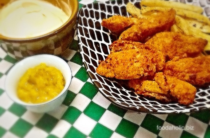 Crispy Baked Chicken Fingers with Honey and Mustard