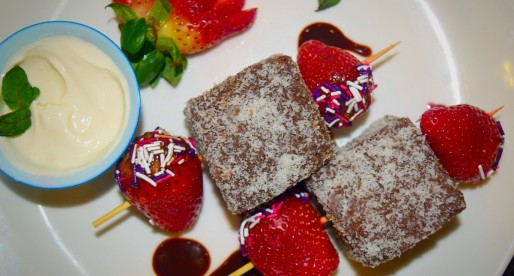 Mini Lamingtons Strawberry Bites with Lemon Cream Cheese Dip