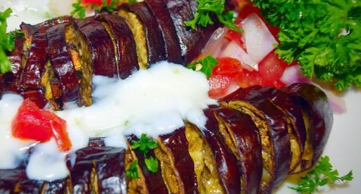 Eggplant Hassleback with Yogurt Garlic Sauce