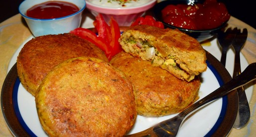 Shikampuri Kebab, Stuffed Meat Lentil Cakes