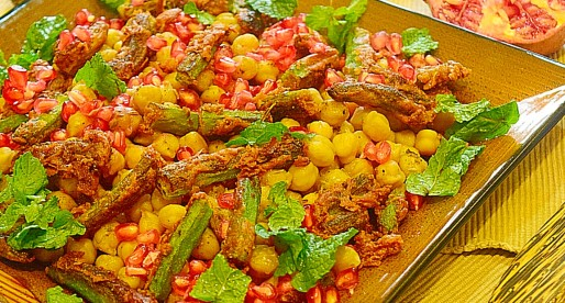Chickpeas and Fried Okra Salad