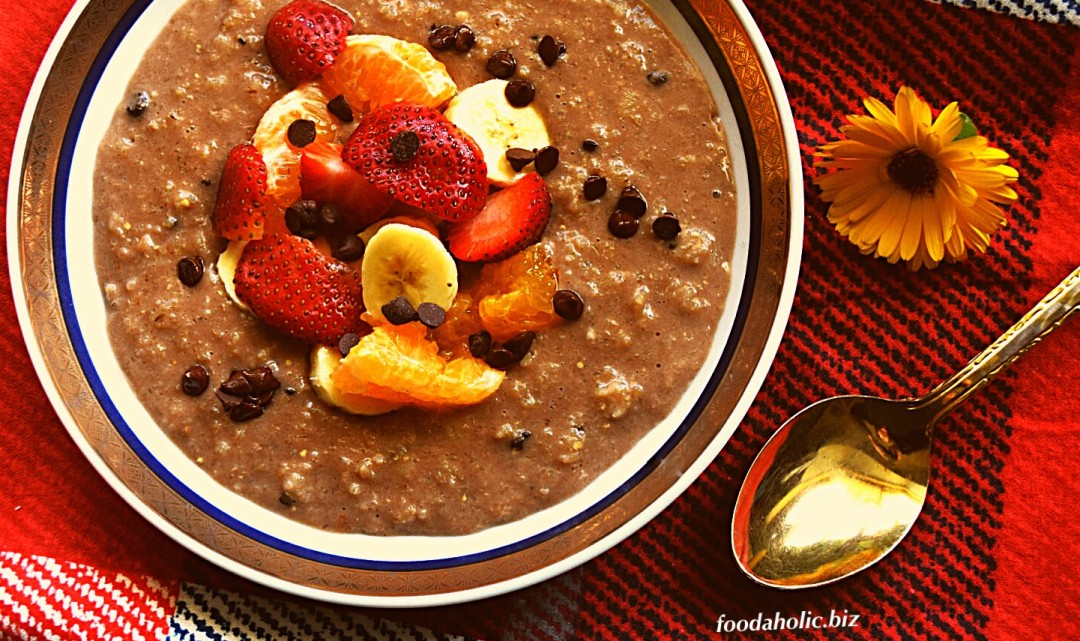 Chocolate Oats with Dates and Fresh Fruit