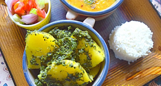 Aloo Hara Masala, Potato Green Curry