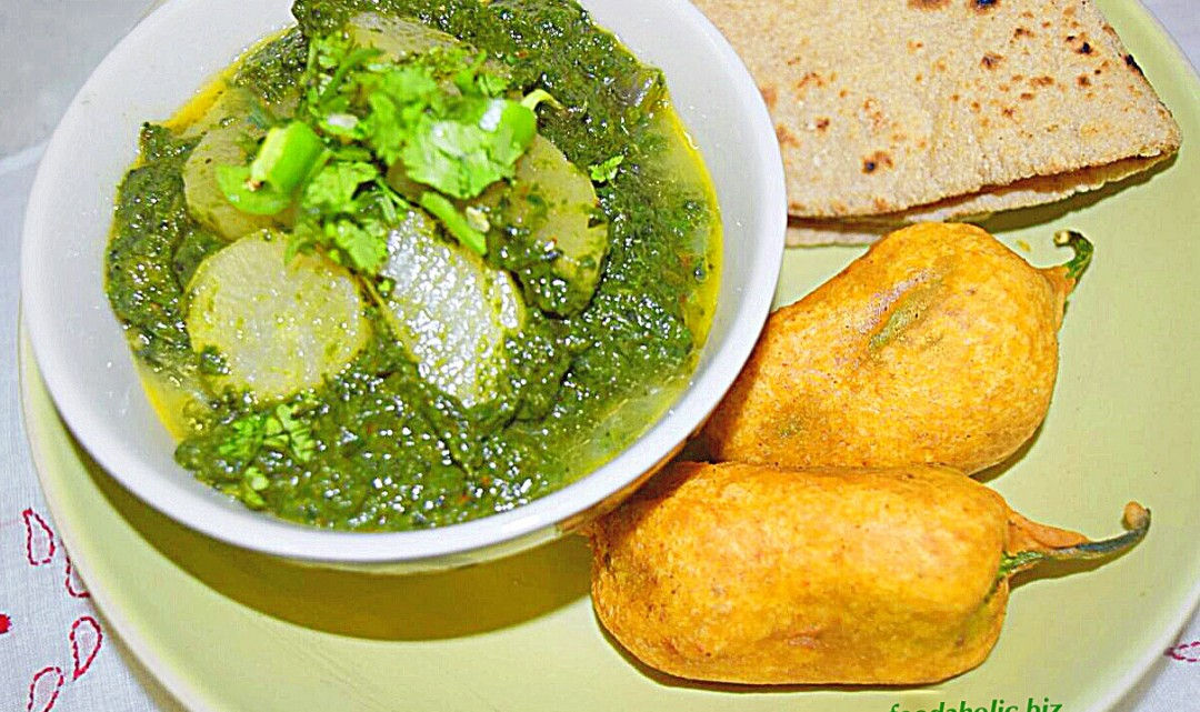Palak Mooli ki Sabzi, Spinach with Daikon