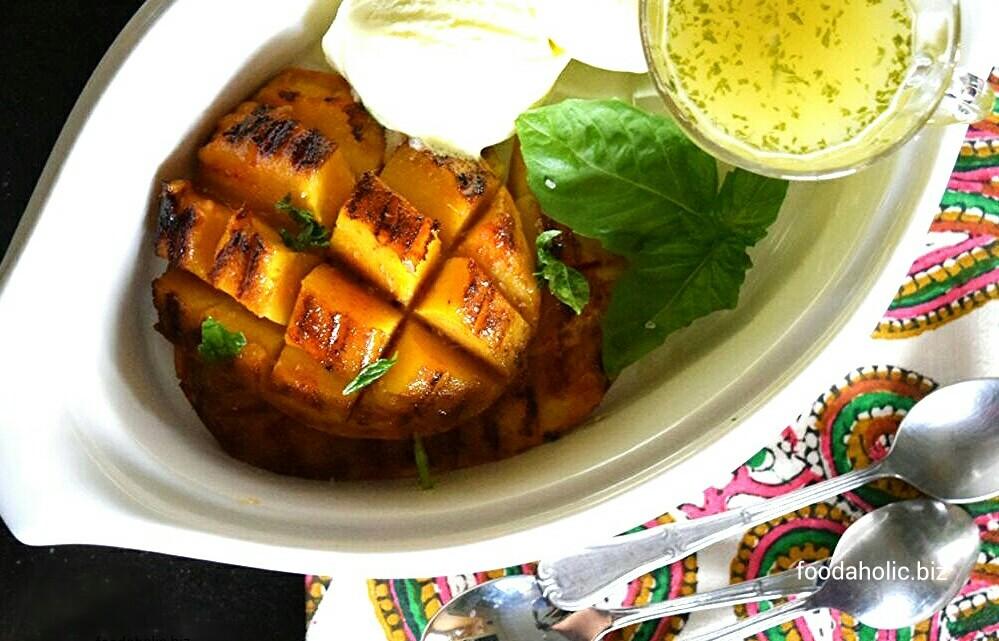 Grilled Mango with Lemon Basil Syrup