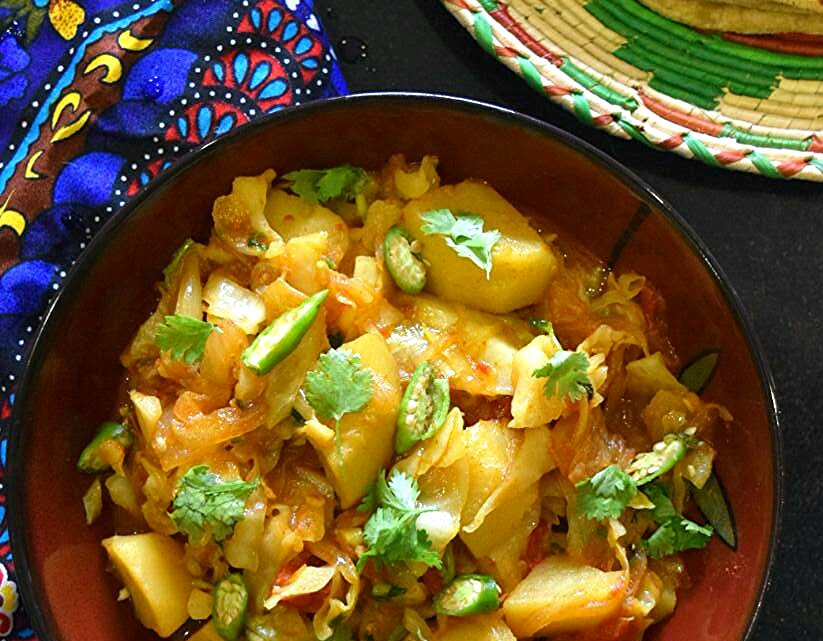 Aloo Patta Gobhi, Cabbage Potato Curry
