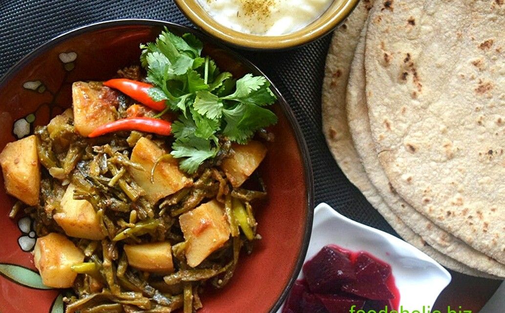 Aloo Moongre, Potatoes with Radish Pods